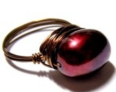 Freshwater Pearl Ring Vintage Bronze CHERRY BORDEAUX