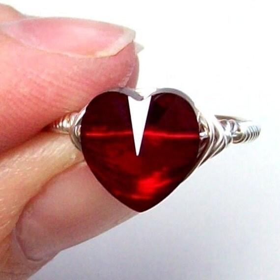 EDWARD'S HEART - Swarovski Crystal Heart  - STERLING SILVER Ring