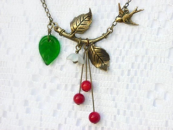 First Cherries baby swallow necklace 10pct OFF