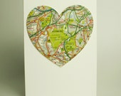 personalised vintage map heart card