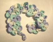 Crochet Flower Bracelet - Blue Green and White