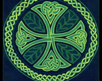 Acrylic painting 'Foliate Cross' - celtic knotwork leaf meditation