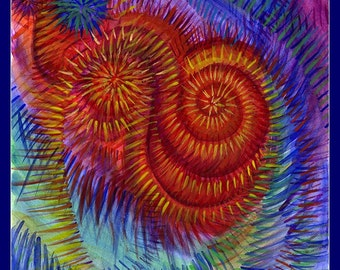 Echo - psychedelic spiral colourful watercolour painting