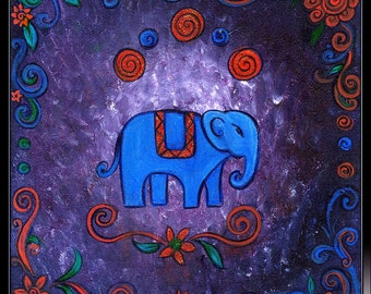 Little Elephant - decorative blue, purple and red painting