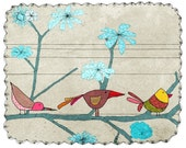 birds - art - illustration -children - wall art - nursery art print - baby  decor - poster - animal - birds - flowers - turquoise - grey