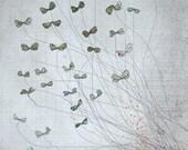 butterflies - Children Wall Art - digital Illustration - Nursery Art Print - Baby Wall Decor - Poster - Flowers - Blue - Grey - Boy - Girl