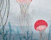 marin - jellyfish - Art - digital Illustration - Nursery Art Print - Baby Wall Decor - Poster - Blue - Underwater - Pink