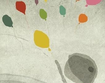 automne 4 - Art - Illustration -  colorful - Children Wall Decor - Nursery Art Print - Balloons