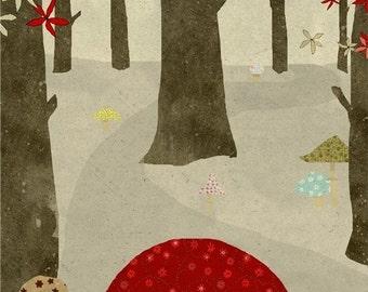 la foret 4 - Art - Illustration - Wall Decor - Art Print  - Children - Woods - Mushroom - Trees