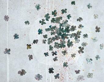 fete - Children Wall Art - digital Illustration - Nursery Art Print - Wall Decor - Poster - blue - flowers - abstract