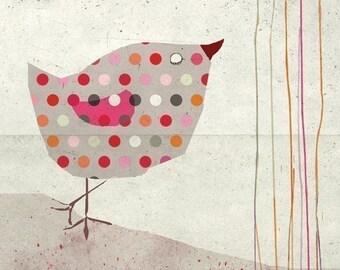 petit bird - Children Wall Art - digital Illustration - Nursery Art Print - Baby Wall Decor - Poster - Bird - Pink - Girl - Dots