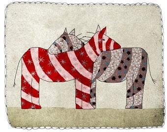 Zebra, children - digital Illustration - wall Art - nursery art print - baby  decor - poster, animal, hug, two zebras - red - purple - grey