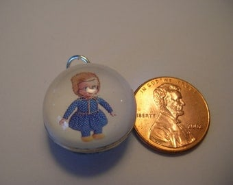 Vintage Style Mrs Beasley Doll Silver Bubble Charm