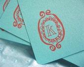 Set of 5 Monogrammed Flats - K
