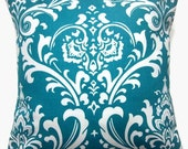 RESERVED  Four Turquoise White Pillow Covers Traditional Design Decorative Throw Toss Accent Cover 16 inch
