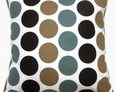 Two Brown Cadet Blue Tan White Pillow Covers Polka Dot  Decorative Toss Throw Accent Pillow Covers 16 inch