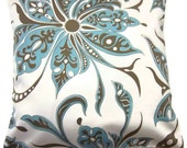 Two Aqua Cocoa Brown White Pillow Covers Modern Floral Decorative Toss Throw Accent Pillow Covers 16 inch