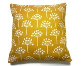 Two Mustard Yellow White Pillow Covers Large Tree Damask Decorative Toss Throw Accent Covers 16 inch
