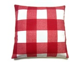 Two Red White Plaid Pillow Covers Decorative Throw Toss Accent Pillow Covers 16 inch
