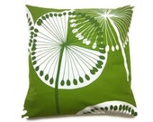 Two Apple Green White Bold Dandelion Pillow Covers Decorative Accent Throw Toss Pillow Covers 16 inch