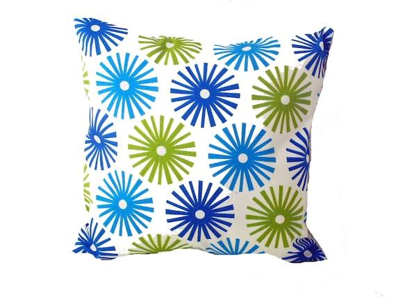 Two Royal Blue Bright Blue Lime Green White Pillow 16