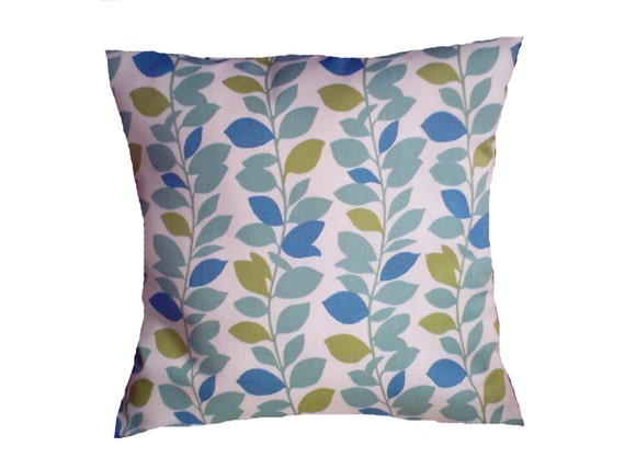 Lime Green And Blue Throw Pillows : Two Teal Blue Lime Green Climbing LeafDecorative Pillows