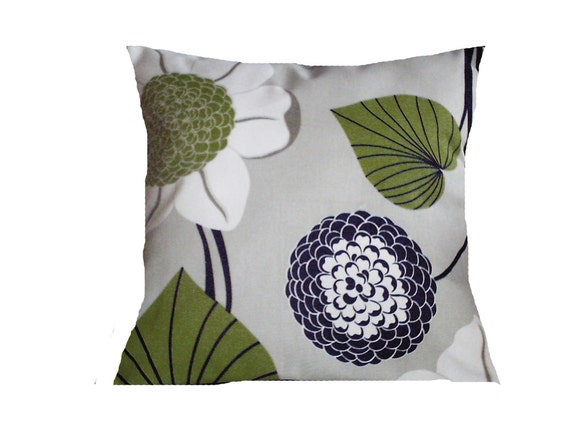 Two BLACK White Lime Green Taupe Decorative Pillows