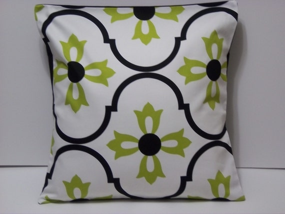 TWO Black White Lime Green Pillows by LynnesThisandThat on Etsy