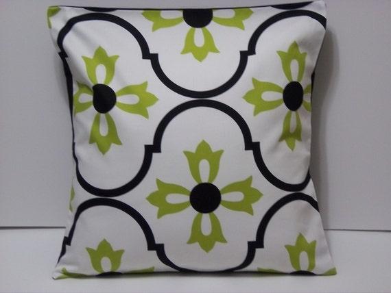 TWO Black White Lime Green Pillows HandmadeDecorative 16
