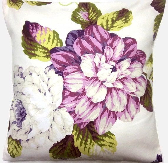 Two Purple, Fuchsia, Green, Pillow Covers Handmade, Decorative, Floral, 16 inch pair