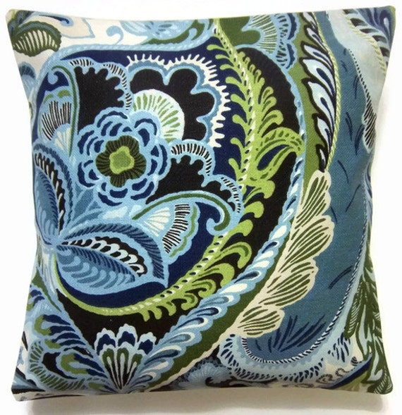 Two Blue Chartreuse White Brown Paisley pillow covers.  Decorative Toss Throw Accent Pillow Covers 16 inch