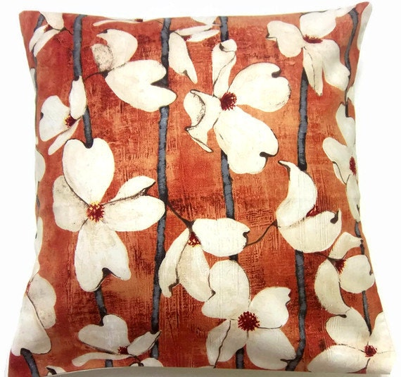 TWO Tangerine Orange Cream Gray Pillow Covers Dogwood Decorative Toss Throw Accent Pillow Covers16 inch