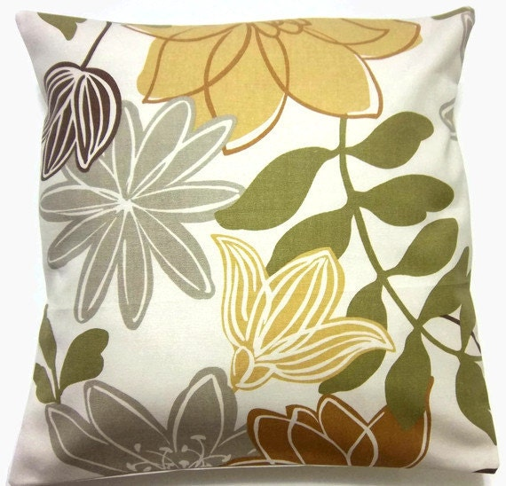 Decorative Pillow Cover Gold Olive Green Brown Gray Modern