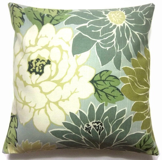 Two Mint Green Off White Olive Green Teal Pillow Covers Toss Accent Throw Covers16 inch