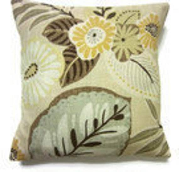 Two Gold Brown Gray Olive Green Pillow Covers Modern Floral Throw Toss Accent Covers 16 inch