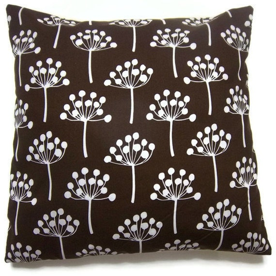 Two Chocolate Brown White Pillow Covers Modern Tree Design Decorative Toss Throw Accent Pillow Covers  16 inch