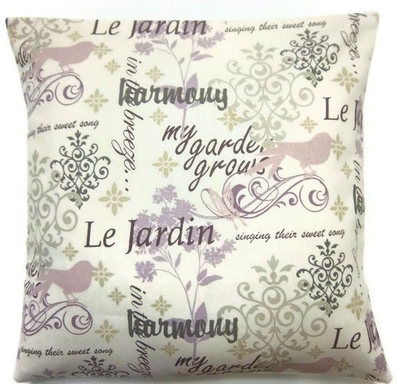 Two Lavender Orchid Dusty Rose White Taupe Pillow Covers Bird Butterfly Script Accent Toss Throw Pillow Covers 16 inch