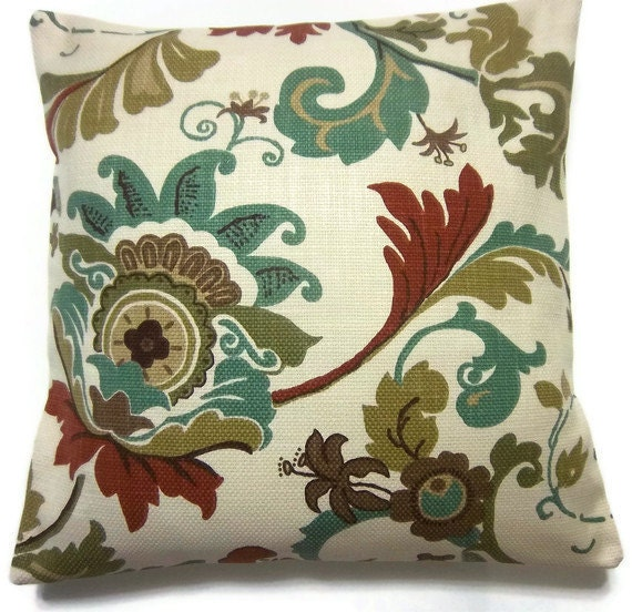 Two Teal Olive Rust Brown Natural Pillow Covers Modern Funky Floral Toss Throw Accent Covers 16 inch