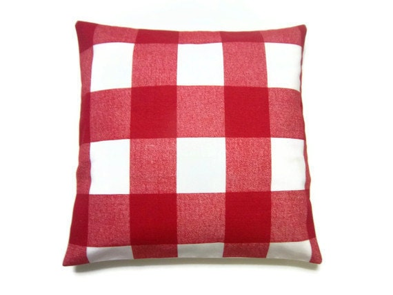Red Plaid Throw Pillow Cover : Two Red White Plaid Pillow Covers Decorative by LynnesThisandThat