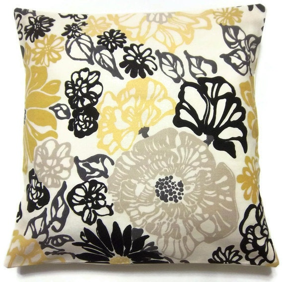 Two Black White Yellow Gold Taupe Pillow Covers Modern Floral