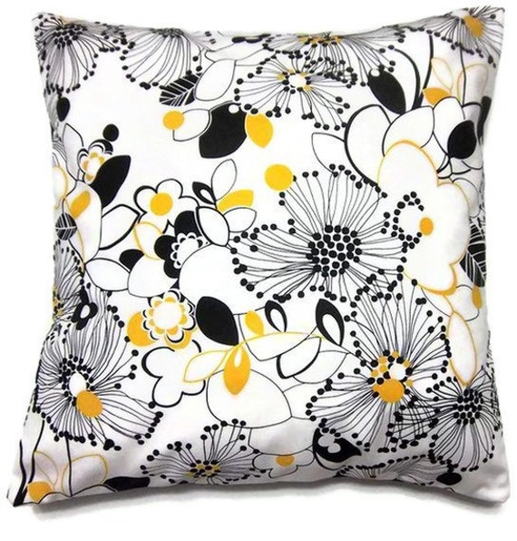 Black White And Yellow Decorative Pillows : Two Yellow Black White Pillows Covers Floral by LynnesThisandThat