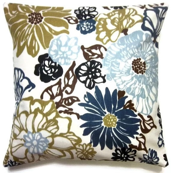 RESERVED   Two Navy Blue Baby Blue Olive Green White Brown Pillow Covers  Decorative Floral Toss Accent Throw Pillow Cover 16 inch