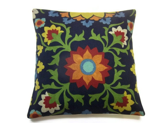 Two Navy Blue Red Orange Green Yellow Pillow by LynnesThisandThat