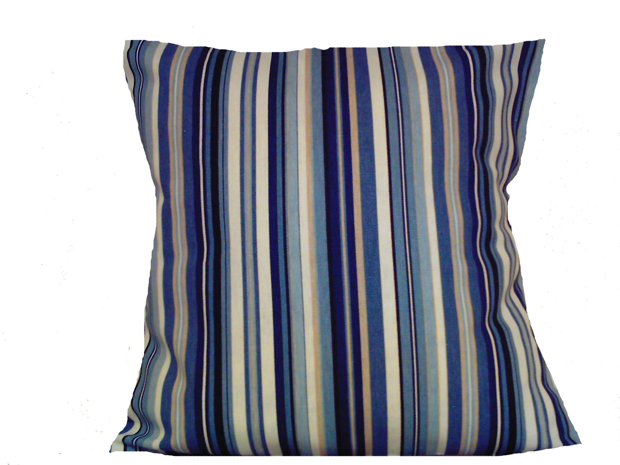 Two Navy Blue Sky Blue White Tan Pillows Handmade Stripe