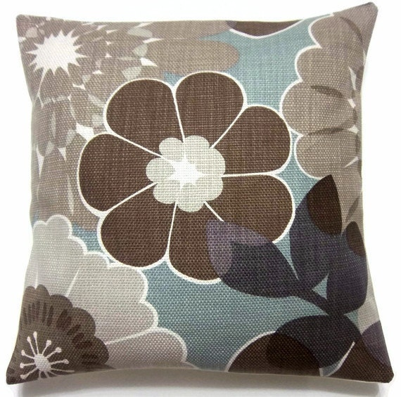 Two Brown Gray Taupe Cadet Blue Lavender Pillow Covers