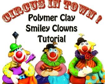 Tutorial, Polymer clay tutorial, PDF tutorial, Clown Tutorial, DIY, DIY craft idea, step by step instruction, Colorful crafts, sculping
