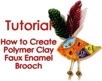 Polymer Clay pdf tutorial - Faux Enamel Brooch, step by step Tutorial, PDF, DIY tutorial, Polymer clay tutorial, Craft tutorial