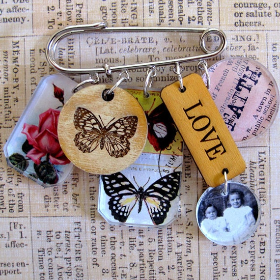 Mixed Media Art Pin - Love and Faith