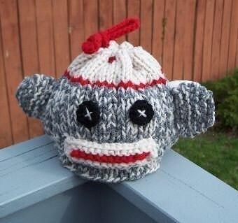 Knitted Sock Monkey Pattern : Knitted Sock Monkey Tea Cozy Pattern by crochetdiva on Etsy