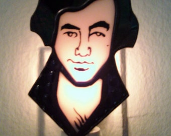 Neil Diamond Night Light stained glass portrait by Glass Action